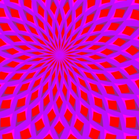 expanding: Red Blossom Blooming      motion illusion Illustration