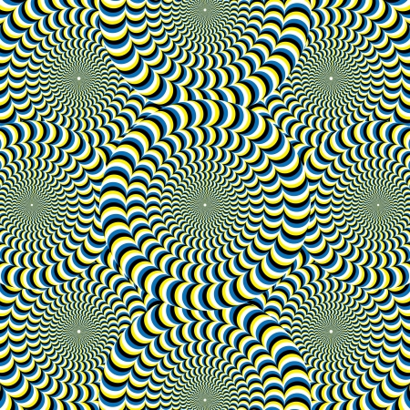 optical illusion: Snake Wheelies       motion illusion  Illustration