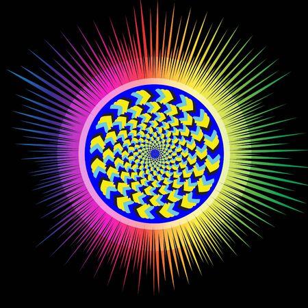 Rainbow Burst Wheelie     motion illusion