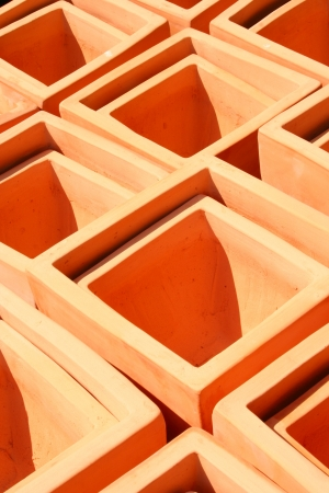 terra: Square Terra Cotta Pots Stock Photo