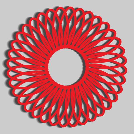 paper cutout: Red Paper Cutout Pattern Illustration