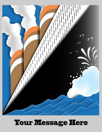 ocean liner: Art Deco Ocean Liner Poster with Space for Text