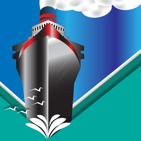 ocean liner: Vintage Art Deco Ocean Liner Poster