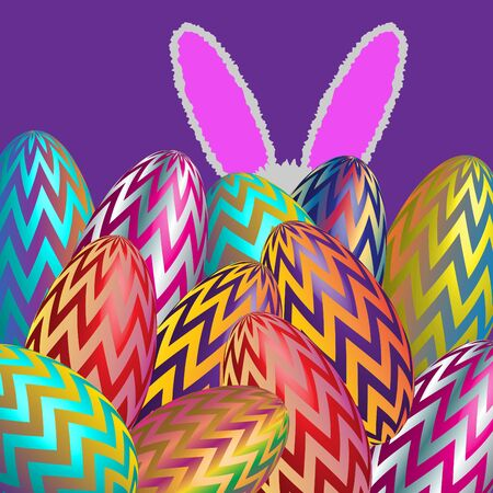 Easter Bunny and Eggs Ilustrace