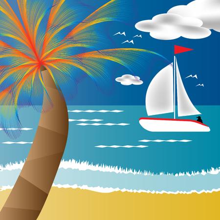 tropical: Tropical Sail Illustration