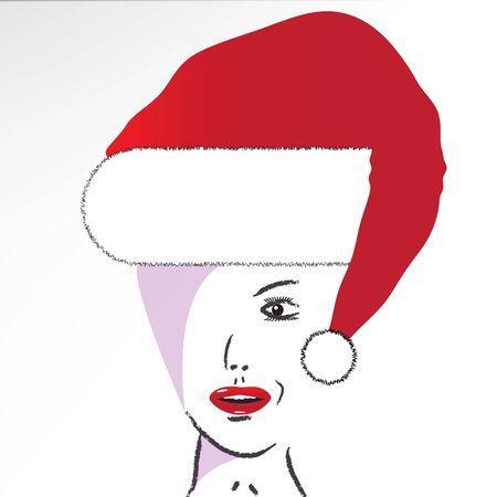 Girl in Santa Hat Ilustrace