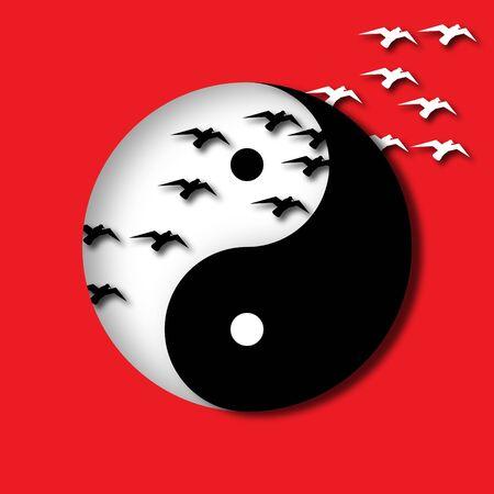 Yin Yang Cutout with Birds