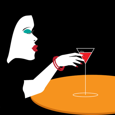 A woman reaches for a glass of wine in a minimalist illustration.