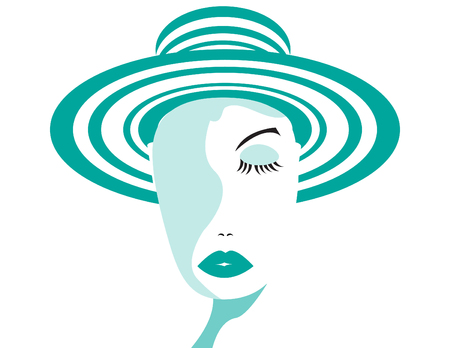 A woman with turquoise colored hat and lips is featured in a minimalist portrait illustration.