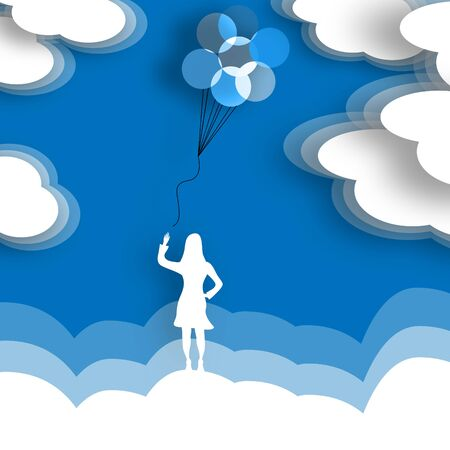 A woman releases a bunch of balloons to the sky in a minimalist surreal illustration. Reklamní fotografie