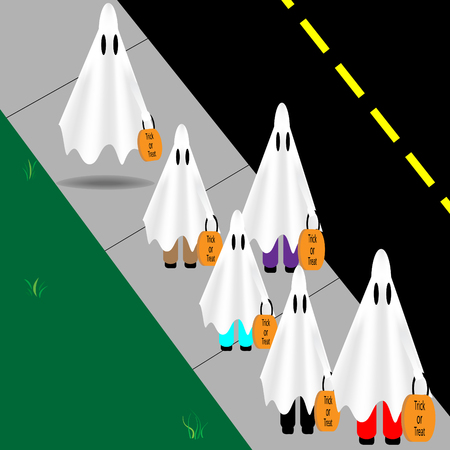 Kids dressed as ghosts followed by a real ghost Ilustrace