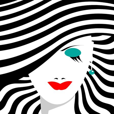 A woman in a stylish striped hat is featured in a minimalist fashion and beauty illustration. Ilustração