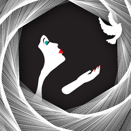 A glamorous woman releases a white dove in a minimalist illustration.