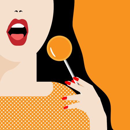 A woman opens her mouth to enjoy an orange lollipop in a minimalist illustration.