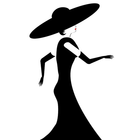 A glamorous woman in black hat, gown, and gloves is featured in a minimalist fashion and beauty illustration.