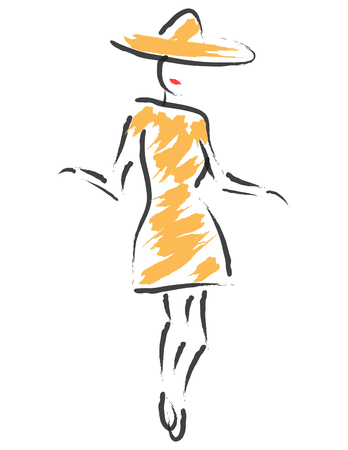 A woman in a stylish hat and dress is featured in a minimalist fashion and beauty illustration.