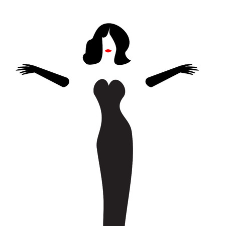 A woman in a stylish gown and black gloves is featured in a minimalist beauty and fashion illustration.
