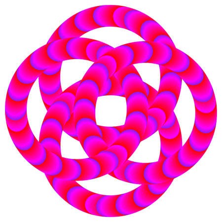 A twisted pattern of striped rings is featured in an abstract illustration of the illusory motion variety.