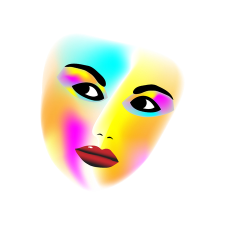 The face of an attractive young woman is adorned with various colors in a minimalist fashion and beauty illustration.