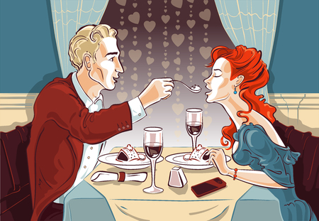 A vector image of a beautiful mole of a couple who dines in an elegant restaurant. A man in love feeds his lady of the heart from a spoon. Romance in the air.  イラスト・ベクター素材