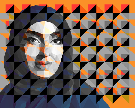 Portrait of an Arab woman wearing hijab 矢量图像