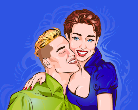 Vector illustration depicting a couple of lovers