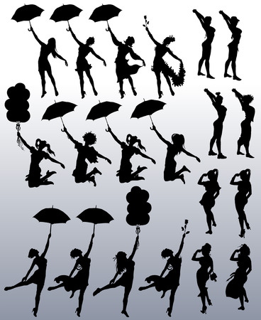 Collection of vector silhouettes of attractive women