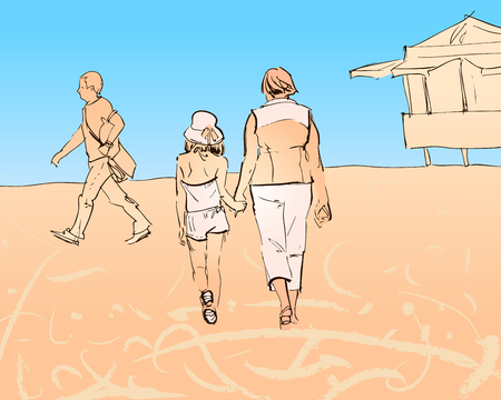Vector illustration, which depicts people strolling along the beach. Grandma walks with her granddaughter, a passer-by hurries past. Bright blue summer sky.