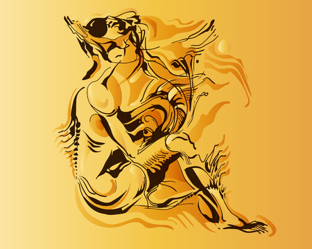 Vector image of a fantastic amphibian woman. The mutant is depicted in a seated pose. Chimeras are silhouetted with fancy ink lines and gradient fills. The background is bright saturated.