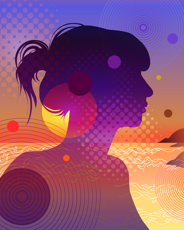 Elegant silhouette of a young woman in the rays of the setting sun by the sea. The girl has a long neck and bunched hair. Beautiful gradients and halftones are used.