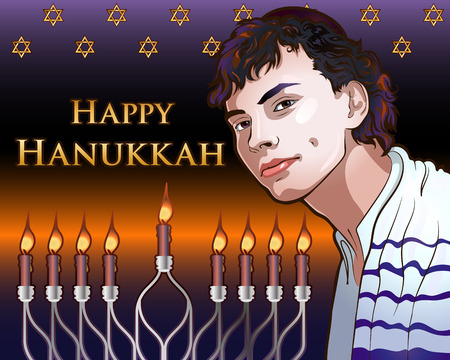Happy Hanukkah Shining Illustration with Menorah, David Stars, Portrait of a Young Jew Vectores