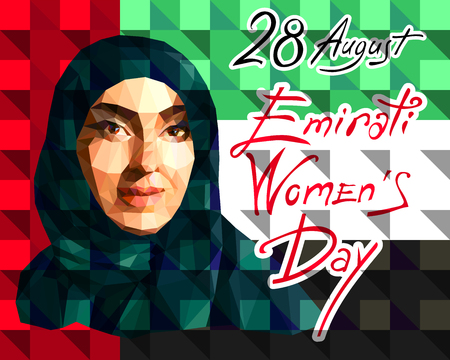 Illustration in the style of a low polygon dedicated to the Emirati Women s Day