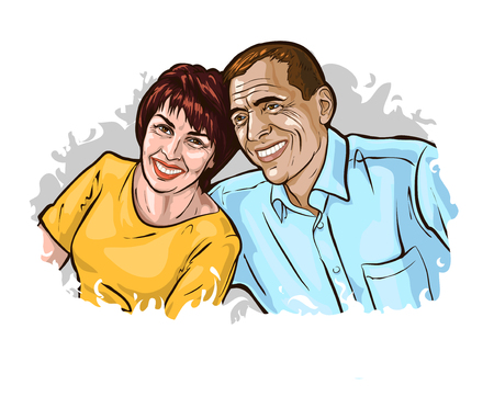 Vector illustration depicting a happy mature couple. The elderly spouses are sitting, touching their shoulders, and smiling happily. Template for advertising on the topic of family, marriage, age. Ilustração