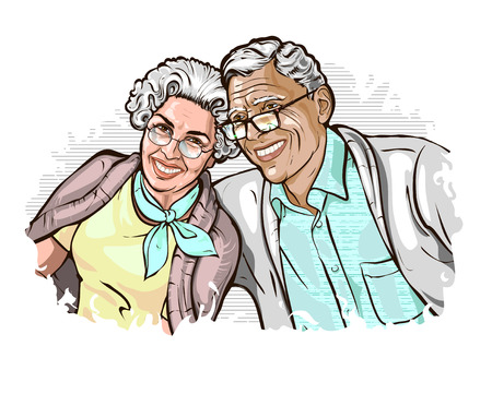Vector illustration with the image of a happy elegant mature couple. Elderly gray-haired spouses sit shoulder to shoulder and smile. Template for advertising on the topic of family, marriage, age. Vectores