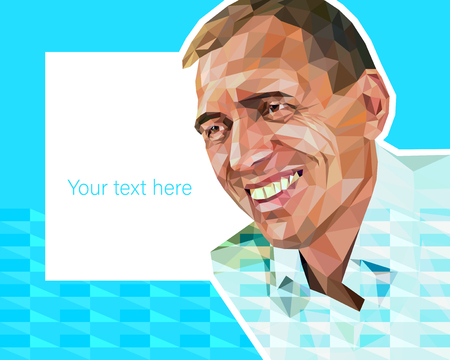 Vector low polygon style illustration - portrait of middle-aged attractive man Vectores