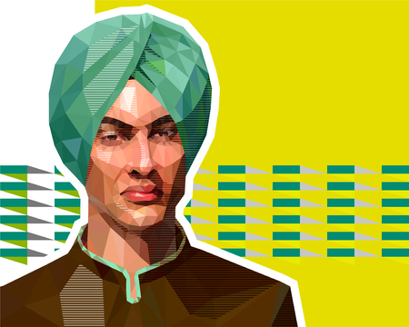 The illustration in the low polygon style - a portrait of a young Muslim in a turban. Vectores