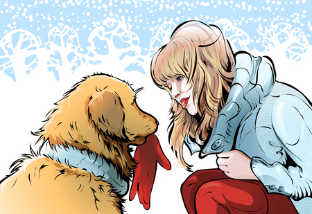 Illustration on the theme of walking with pets, friendship between animals and a human. A golden retriever brought a young blonde woman with her glove. The background is a winter snow-covered park. Illusztráció