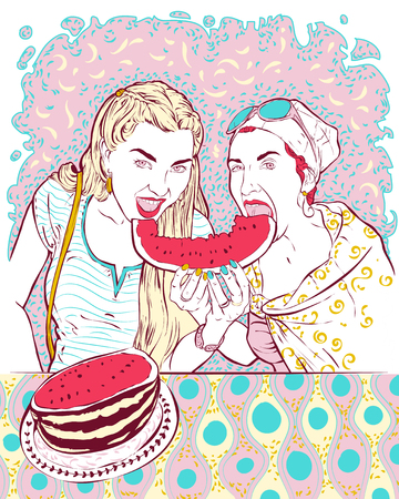 Vector illustration - a portrait of two young girls who eat a big chunk of red juicy watermelon. Girls dressed in ethnic style, sitting at the table. Template for advertising, postcards. Vectores