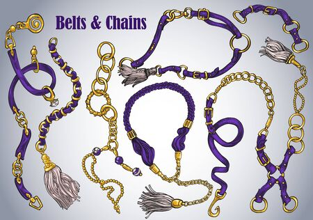 A collection of hand-drawn belts and chains Vectores