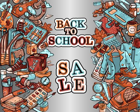 A poster on the theme Back to school , Sale . The text is framed by stripes from a variety of objects office supplies, school uniforms, shoes, food and hobbies of schoolchildren and students.