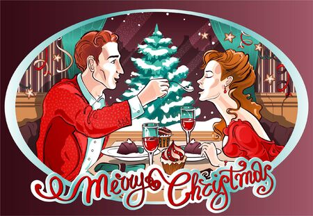Romantic Christmas Dinner in a restaurant with beautiful couple in love. A gentleman treats his lady. There is an atmosphere of holiday and romance.