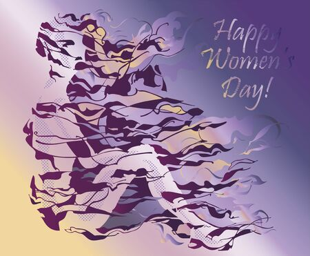 Illustration dedicated to the International Women's Day. Elegant silhouette of a young woman with long neck and bunched hair.
