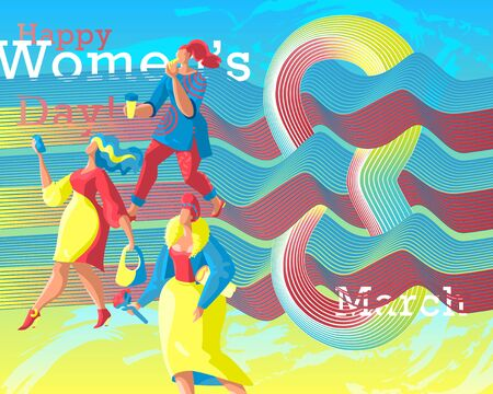 Modern abstract banner for International Women's Day March 8. Cute flat women characters. Smooth flowing forms form a composition with the number eight.