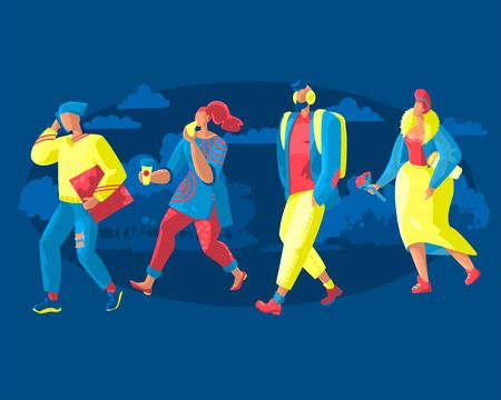 Flat illustration of a group of pedestrians. People are stylishly dressed residents of the city, hurrying about their business. Template for blog, article, advertisement.