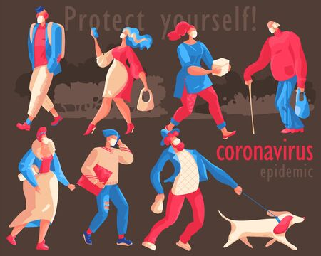Coronavirus Epidemic illustration shows the need for protective measures -wear medical masks in public places. Vectores