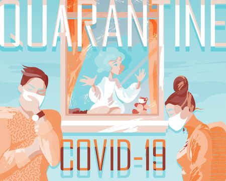 Illustration dedicated to the epidemic of coronavirus in the world and measures to combat the virus, quarantine, medical masks, isolation of children. Template for social banners. Vectores