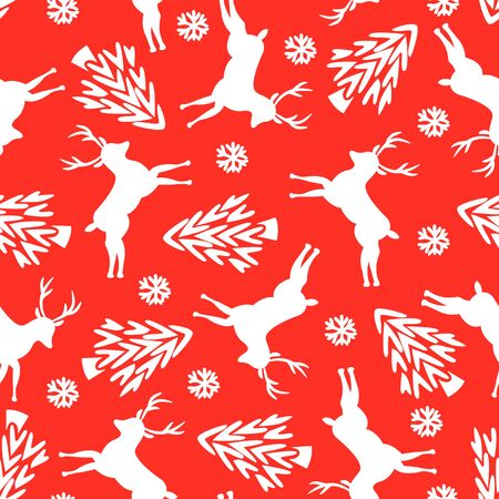 Seamless Deer, Snow and Trees Pattern. Vector Art