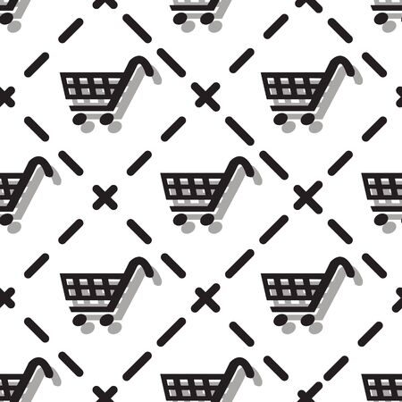 Seamless Black Shopping Cart Pattern. Black Friday Theme, White Background. Vector Illustration EPS 10.