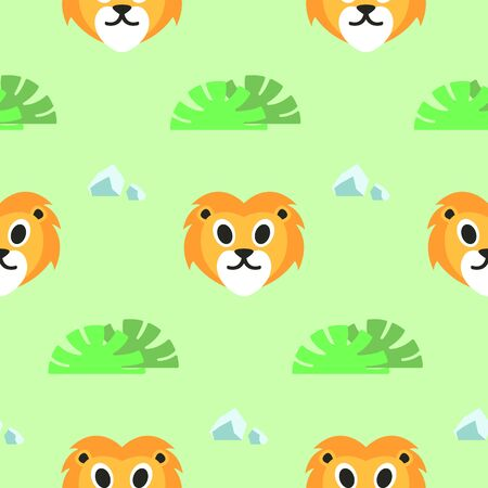Seamless Cute Lions Animal Pattern, Vector Illustration EPS 10. Фото со стока - 150473592