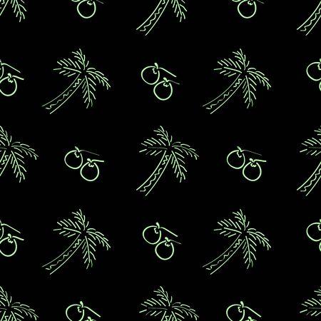 Seamless Coconut Tree Pattern Line Art Vector Illustration EPS 10 Фото со стока - 150473595